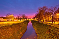 Koprivnica creek on colorful dusk Stock Photography