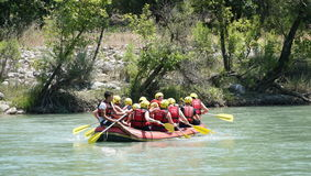 KOPRULU CANYON - TURKEY - JULY 2016: Water rafting on the rapids of river Koprucay at Koprulu Canyon, Turkey. Koprucay River is most popular rafters in Turkey Royalty Free Stock Photos