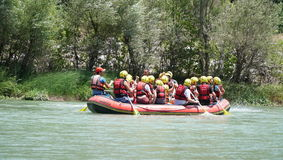 KOPRULU CANYON - TURKEY - JULY 2016: Water rafting on the rapids of river Koprucay at Koprulu Canyon, Turkey. Koprucay River is most popular rafters in Turkey Royalty Free Stock Photography
