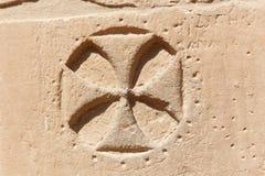 Koptisch kruis bij Tempel van ISIS Philae in Aswan, Egypte Stock Foto's