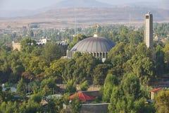 Kopuła i dzwonkowy wierza kościół Nasz dama Mary Zion, Aksum, Etiopia Zdjęcia Royalty Free
