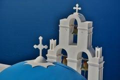 Kopuły i belltower ażio Theodori kościół Firostefani, Santorini, Cyclades wyspy Grecja Fotografia Royalty Free