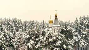 Kopuły kościół w śnieżystym lesie Obrazy Royalty Free