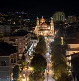 Korçe Albania at night on a cold fall day royalty free stock image