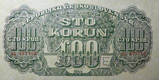 100 Korún in 1944 - Historical banknote. 100 Korún in 1944. The picture rear portion 100 crowns - Banknote came from Czechoslovakia. Historical note stock photos
