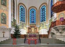 Kor och altare av Sts John kyrka i Malmo, Sverige fotografering för bildbyråer