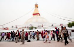 Kora around Boudhanath - peoples in motion Royalty Free Stock Images