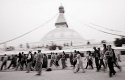Kora around Boudhanath - peoples in motion Stock Images