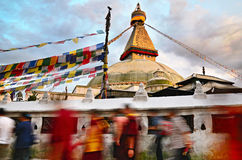Kora around Boudhanath Stupa Stock Image