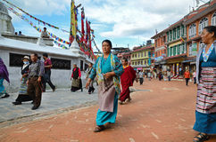 Kora around Boudhanath Stupa Royalty Free Stock Photography