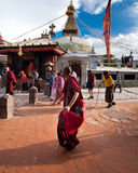 Kora around Boudhanath Stupa. Nepal, Kathmandu Stock Image