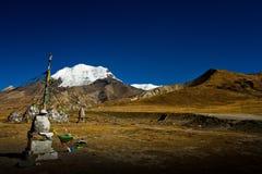 Kora La通行证和它的冰川西藏 免版税库存照片