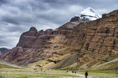 Kora Mt Kailash, паломник Kang Rinpoche тибетских людей Тибет стоковое изображение