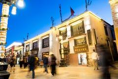 Kora Przy nocą Przy Jokhang Świątynny Lhasa Tybet Obrazy Royalty Free