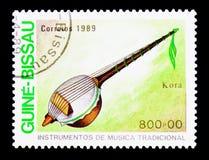 Kora, serie traditionnel d'instruments de musique, vers 1980 Images libres de droits