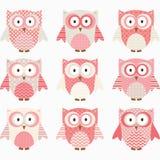 Koraal en Grey Cute Owl Collections Royalty-vrije Stock Afbeelding