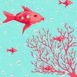 Koraal en vissen kleurrijke illustratie Stock Foto
