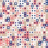 Koraal rood en marineblauw met goud De willekeurige gekleurde abstracte geometrische achtergrond van het mozaïekpatroon stock illustratie