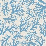 Koraal, zeeschelpen naadloos patroon in uitstekende stijl Vector illustratie Stock Foto