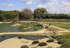 Korakuen Japanese Big garden in Okayama prefecture, Japan stock image