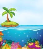 Koral i drzewko palmowe na wyspie ilustracji
