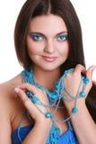 koralik kobieta błękitny modna fotografia royalty free