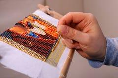 koraliki haftujący obrazek Obrazy Royalty Free