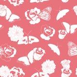 Korall och vita fjärilar och blommor stock illustrationer