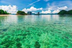 Korallbotten kan ses till och med klart klart havsvatten, Tayland `, Arkivfoton