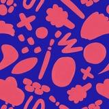 Korallenrotes nahtloses Muster mit Handgezogenem Gekritzel auf einem blauen Hintergrund lizenzfreie abbildung