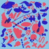Korallenrotes und blaues Muster mit abstrakten Elementen stock abbildung
