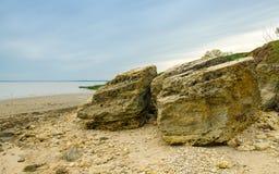 Koraller skal, stenigt landskap på bakgrunden av det Azov havet Fotografering för Bildbyråer