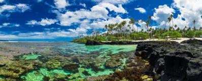Korallrev för att snorkla på södra sida av Upolu, Samoa öar Arkivbild