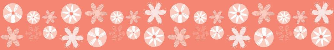 Koralowi geometryczni stokrotka kwiaty R?ka Rysuj?ca Bezszwowa wektor granica ilustracji