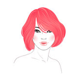 Koran beauty. Fashion illustration. Hairstyle, dyed red hair. Ha Stock Images