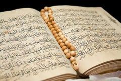 Koran Buch und Rosenbeet. Stockfotografie