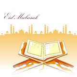 Koran in Happy Eid background. Easy to edit vector illustration of holy book Koran in Happy Eid background Stock Photography