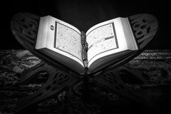 Koran - holy book of Muslims,ฺblack and white  style filtered photo.  Royalty Free Stock Image