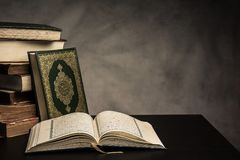 Koran - holy book of Muslims  public item of all muslims. On the table , still life Royalty Free Stock Photography