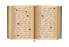 Koran - jest święta księga Islamska religia Islamski święte pisma otwarta książka button ręce s push odizolowana początku ilustra Fotografia Royalty Free