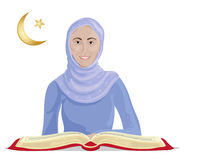 Koran studies. An illustration of a happy muslim woman studying the koran on a white background Royalty Free Stock Photo