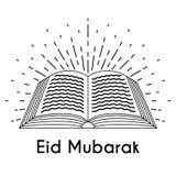 Koran with Sun Rays Line Art. Koran with Sun Rays. God light. Greeting lettering Eid Mubarak. Festive vector illustration for the celebration of holy month Stock Photography