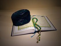 The koran,  tasbih (disbe, subbah). Stock Photography
