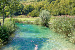 Korana river turquoise bathing area Stock Image