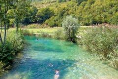 Korana river turquoise bathing area Stock Image