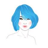 Koranenskönhet Text och teckning av flickan Frisyr färgat blått hår H stock illustrationer