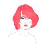 Koranenskönhet Text och teckning av flickan Frisyr färgat rött hår Mummel vektor illustrationer
