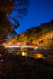 Korankei in autumn with lighting show in aichi,japan Royalty Free Stock Photo