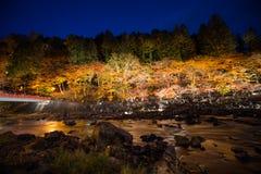 Korankei in autunno con la manifestazione di illuminazione in aichi, Giappone immagini stock