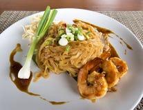 Korat fried noodle. With prawn Royalty Free Stock Photos
